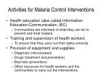activities for malaria control interventions