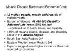 malaria disease burden and economic costs