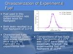 characterization of experimental fuel