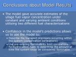 conclusions about model results