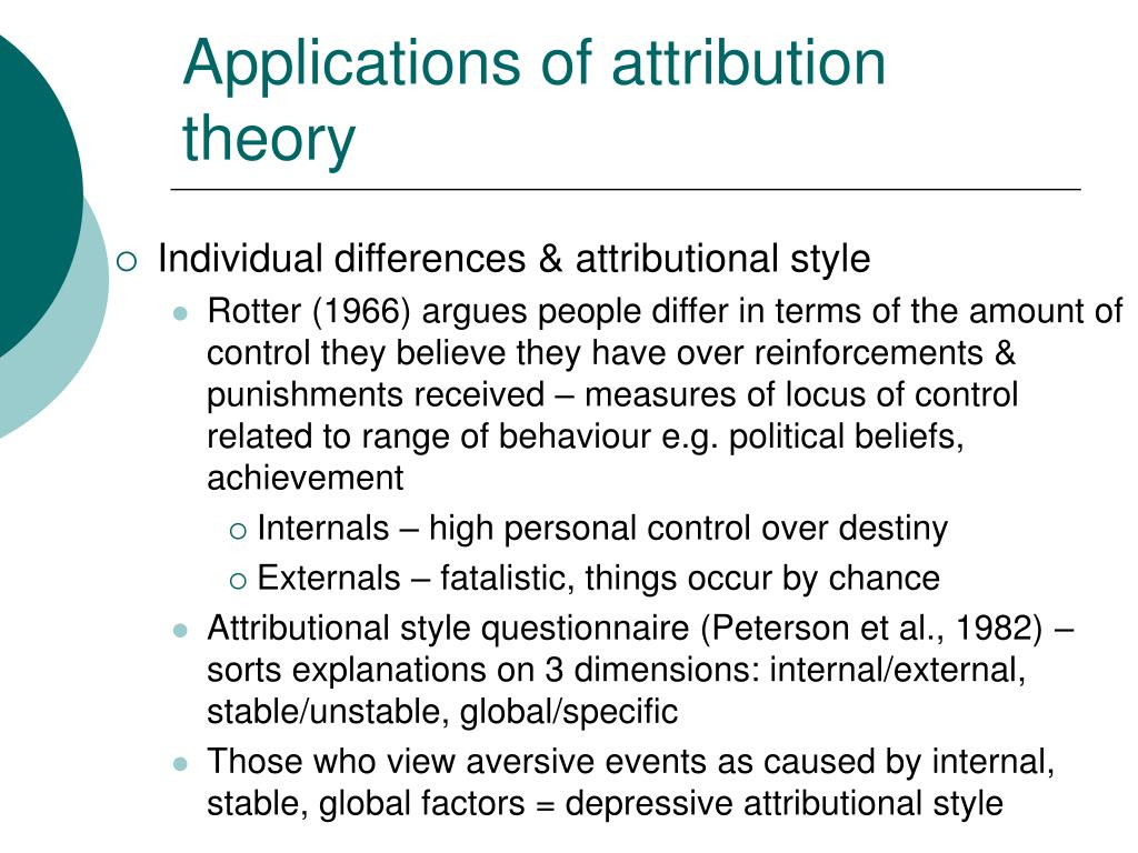 Applications of attribution theory
