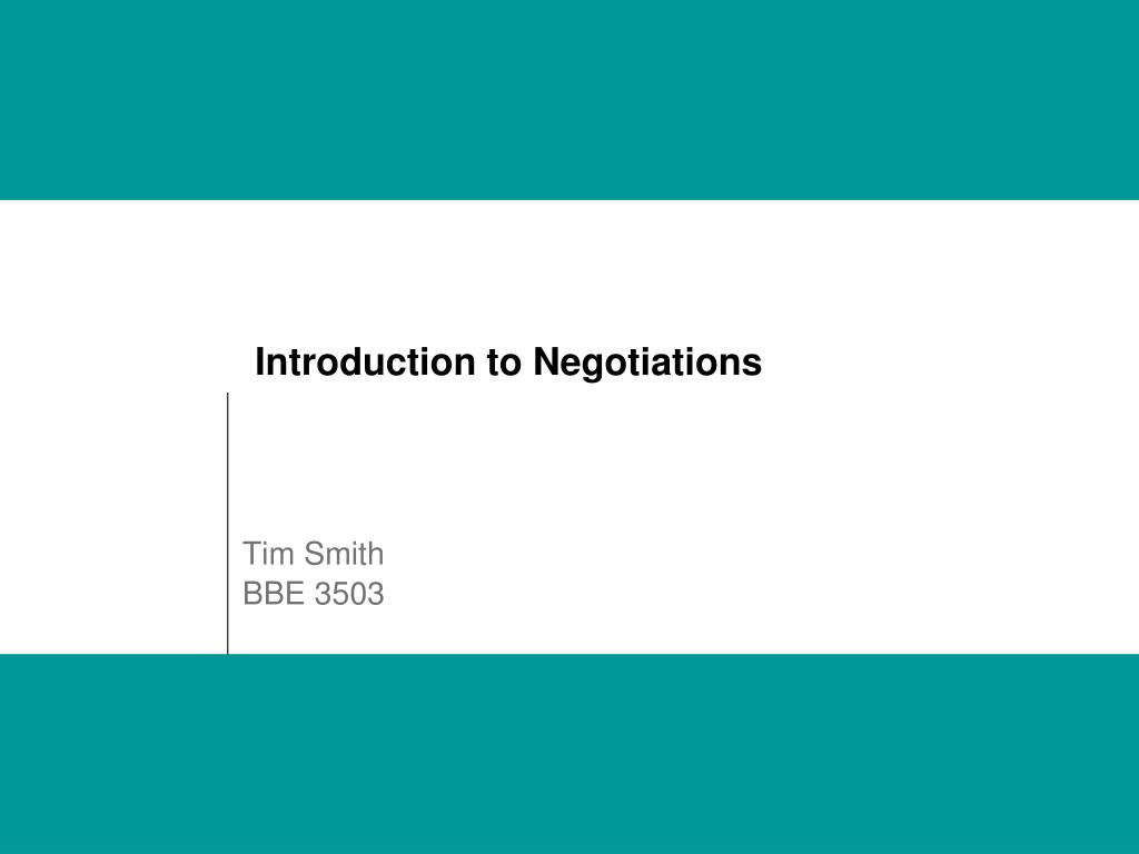 introduction to negotiations l.