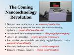 the coming nanotechnology revolution