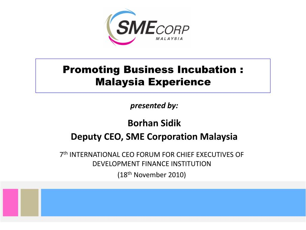 promoting business incubation malaysia experience l.