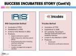 success incubatees story cont d