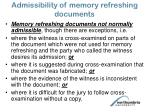 admissibility of memory refreshing documents