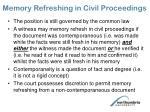 memory refreshing in civil proceedings