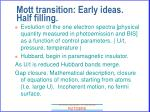 mott transition early ideas half filling