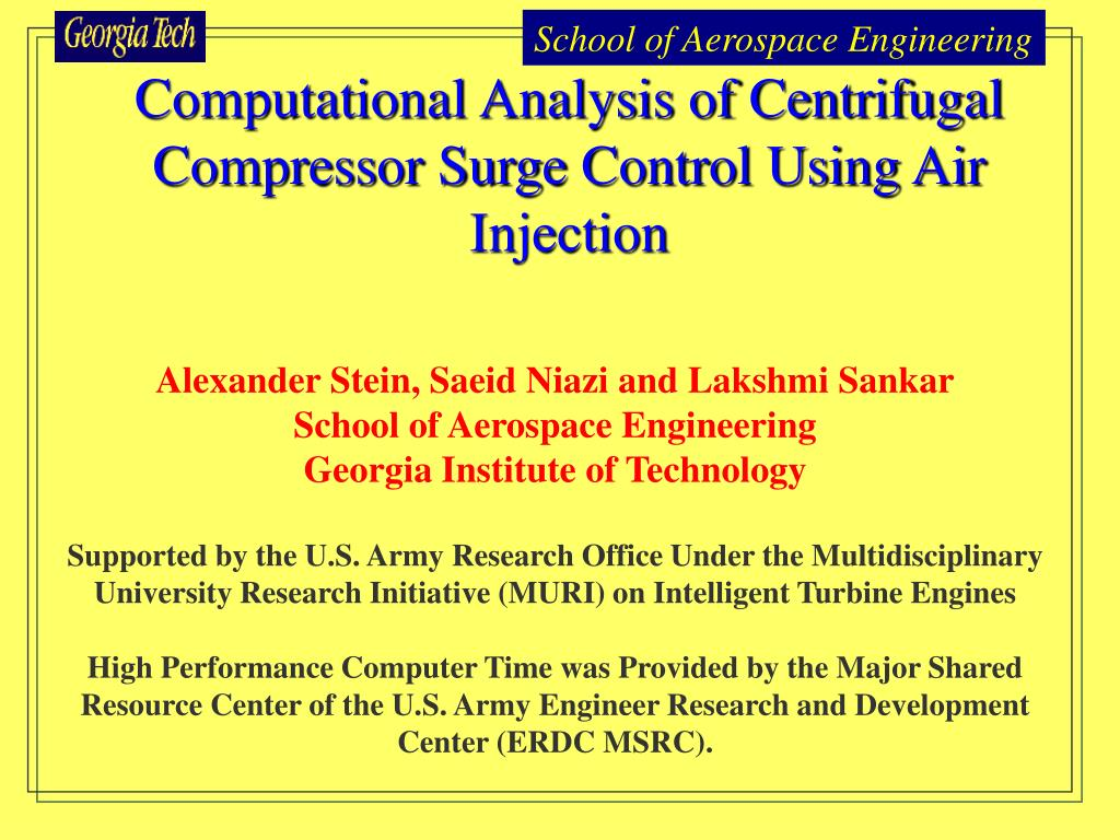 computational analysis of centrifugal compressor surge control using air injection l.