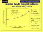 validation results design conditions static pressure along shroud