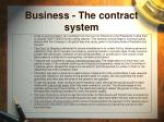 business the contract system