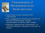 characteristics of renaissance music