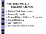 what issues will jtp expansion address