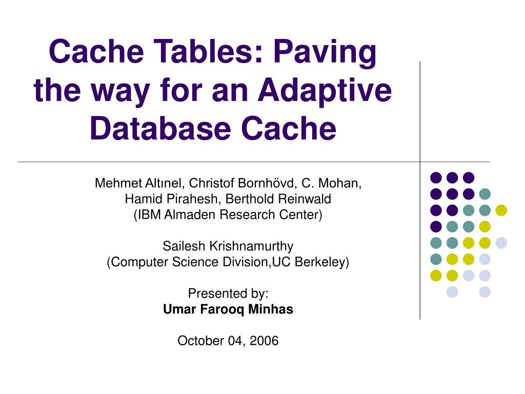 cache tables paving the way for an adaptive database cache l.