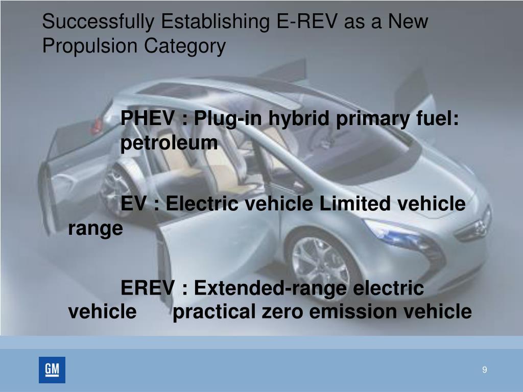 Successfully Establishing E-REV as a New Propulsion Category