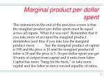 marginal product per dollar spent