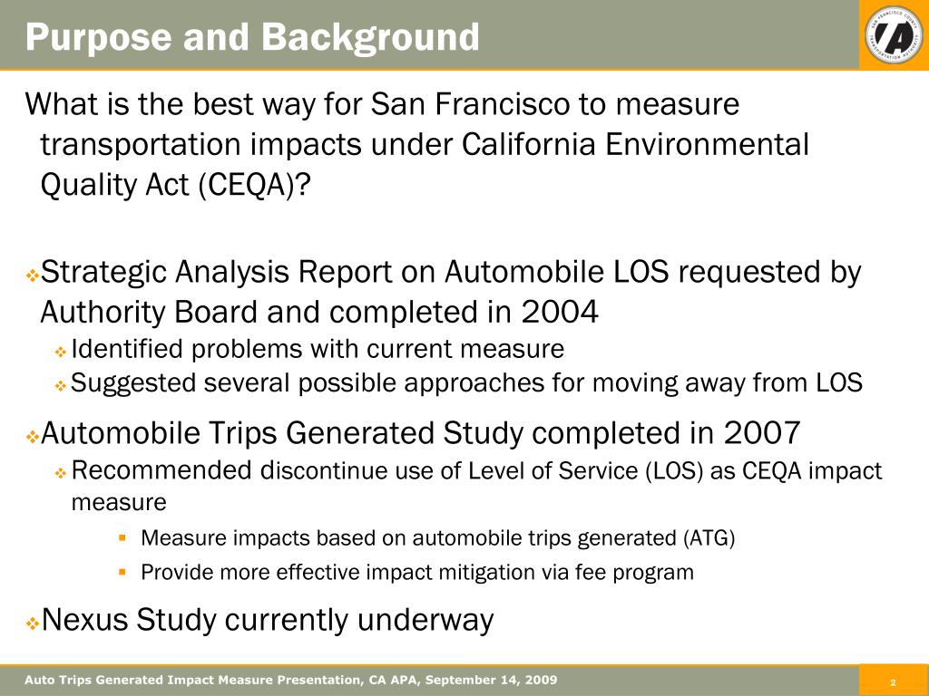 Auto Trips Generated Impact Measure Presentation, CA APA, September 14, 2009
