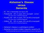 alzheimer s disease versus dementia