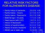 relative risk factors for alzheimer s disease