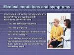 medical conditions and symptoms