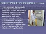 rules of thumb for safe storage continued