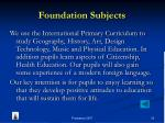 foundation subjects