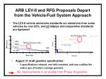 arb lev ii and rfg proposals depart from the vehicle fuel system approach