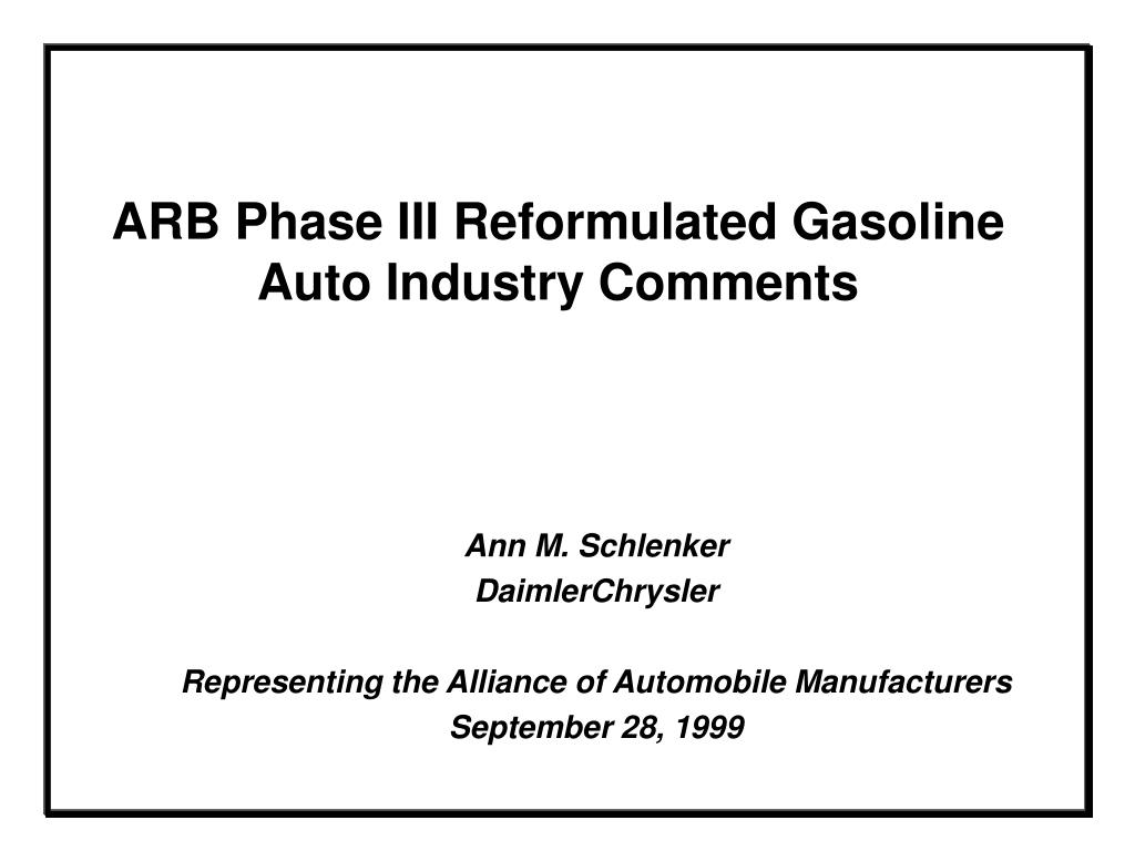 arb phase iii reformulated gasoline auto industry comments l.