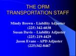 the orm transportation staff