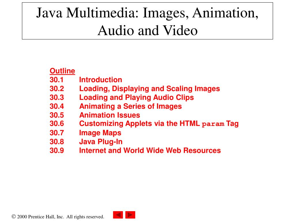 java multimedia images animation audio and video l.
