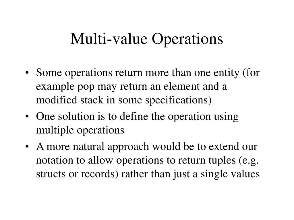 Multi-value Operations