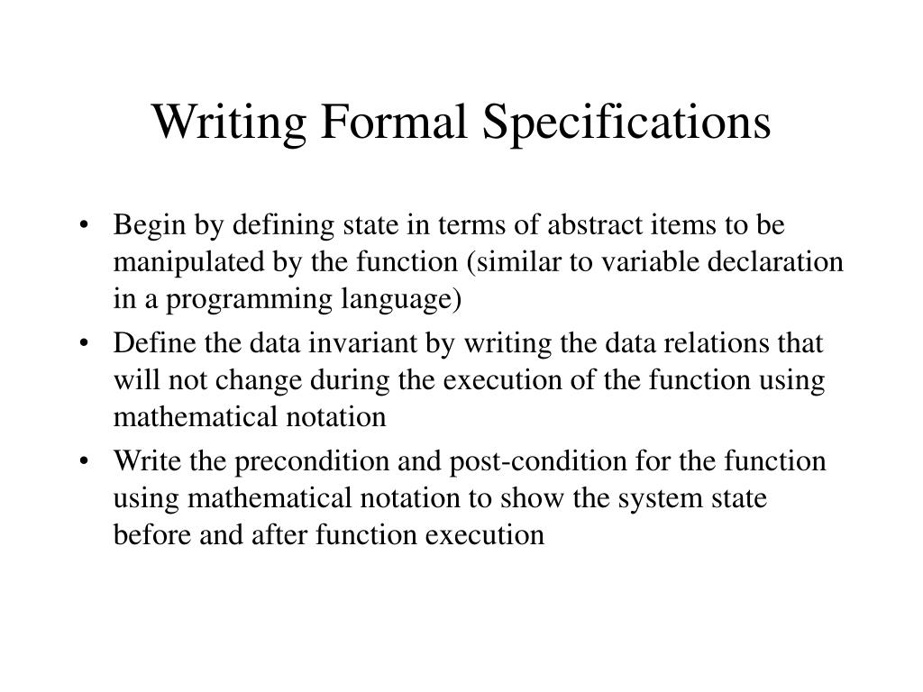 Writing Formal Specifications