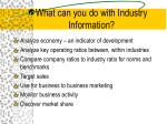 what can you do with industry information