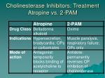 cholinesterase inhibitors treatment atropine vs 2 pam