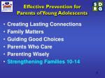 effective prevention for parents of young adolescents