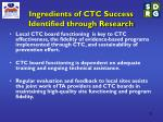 ingredients of ctc success identified through research