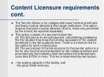 content licensure requirements cont