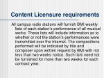 content licensure requirements