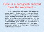 here is a paragraph created from the worksheet