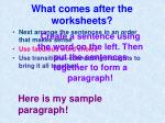 what comes after the worksheets