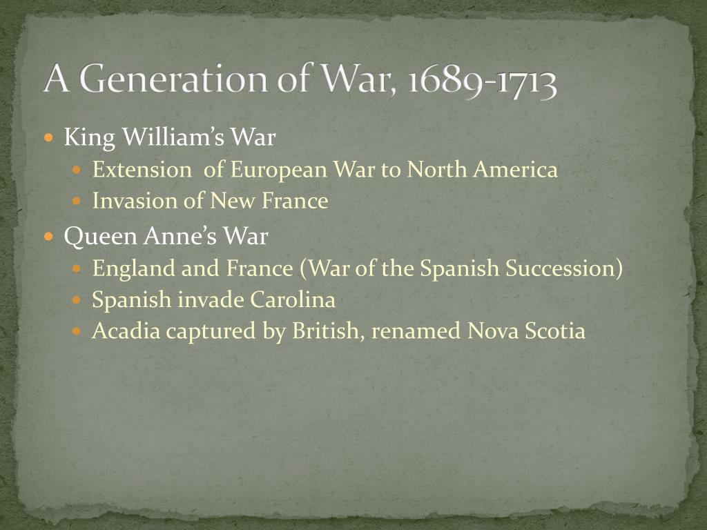 A Generation of War, 1689-1713