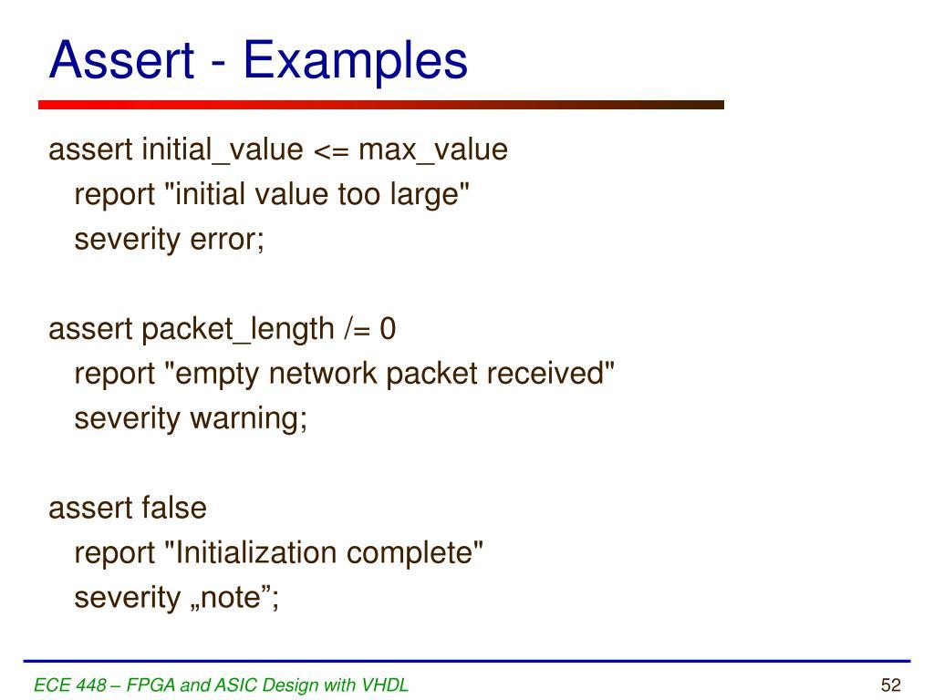 Assert - Examples