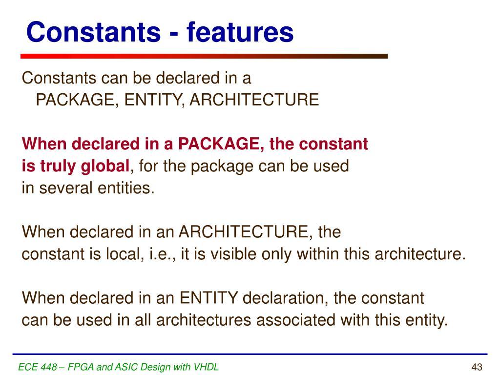 Constants - features