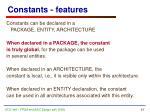 constants features