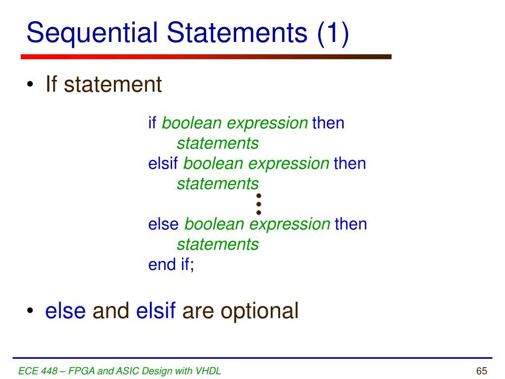 Sequential Statements (1)