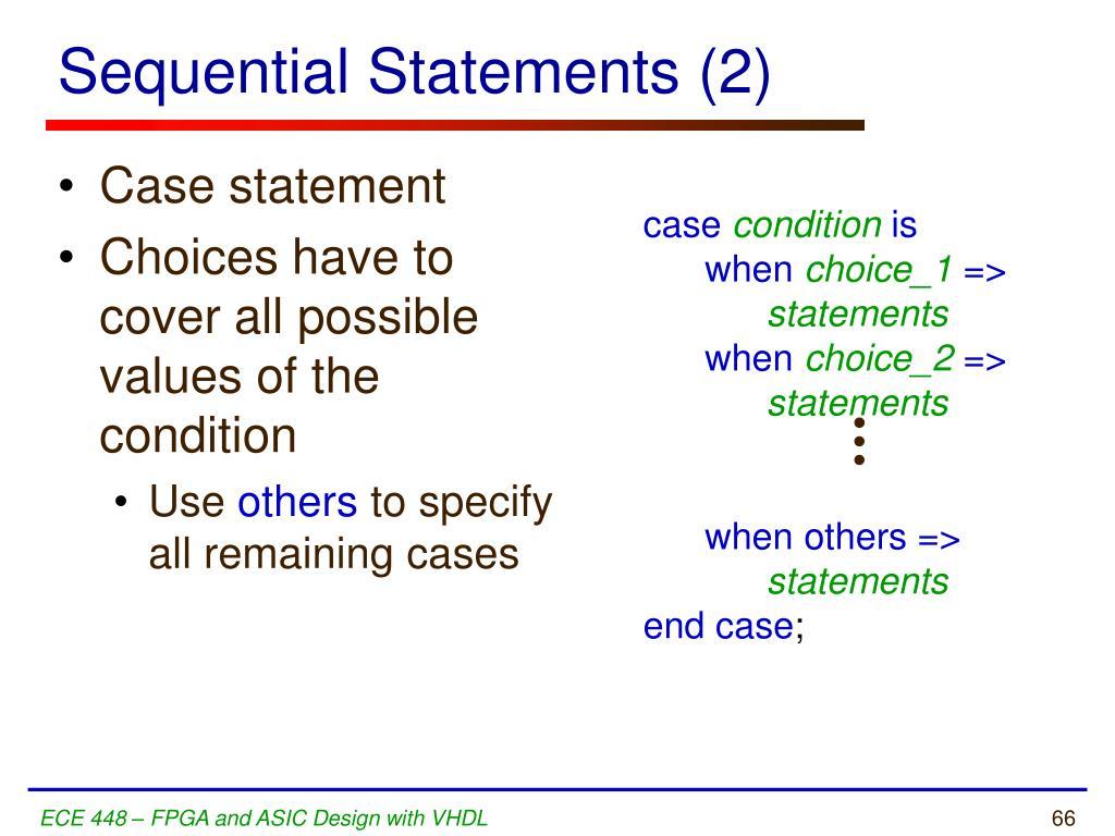 Sequential Statements (2)