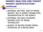 market analysis and target market identification continued