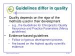 guidelines differ in quality