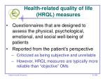 health related quality of life hrql measures