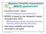 migraine disability assessment midas questionnaire
